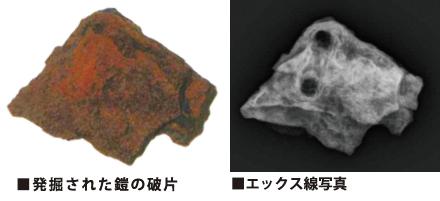 発掘された鎧の破片